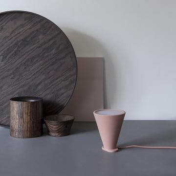 Menu - Bollard Leuchte, nude, Wooden Bowl