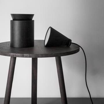Menu - Bollard Leuchte, schwarz, Wooden Bowl