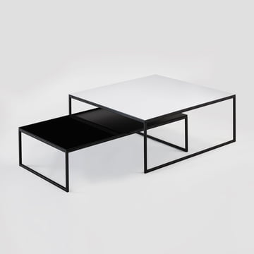 Hans Hansen - Less H 5/2 VA Couchtisch Kufengestell, schwarz / HPL schwarz