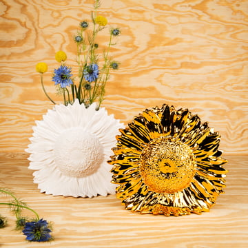 Areaware - Sunflower Vase, weiss, gold