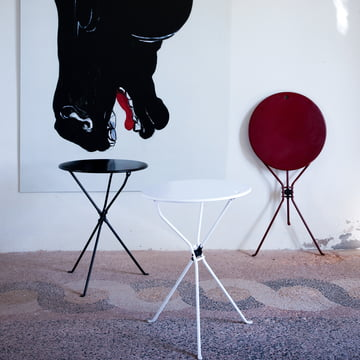 Zanotta - Cumano Beistelltisch, schwarz, weiss, rot