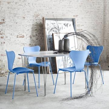 Fritz Hansen - Serie 7 Stuhl, Monochrom Trieste Blue