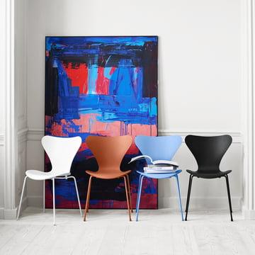 Fritz Hansen - Serie 7 Stuhl, Monochrom, Gruppe