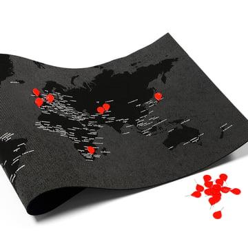 Palomar - Pin World, schwarz mit roten Reisszwecken