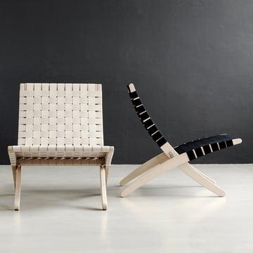 Cuba Chair Gurtgeflecht in Weiss und Schwarz
