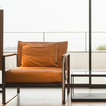 Coffee Table und einen Lounge Chair aus unbehandeltem Eisen