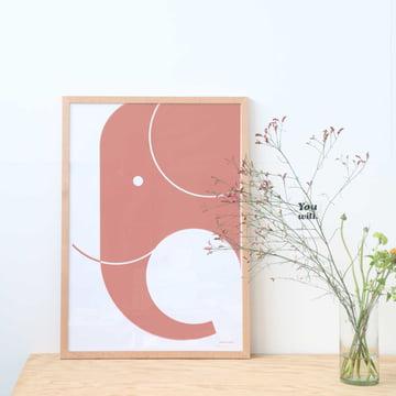 Grafisches Poster mit Elefanten-Motiv