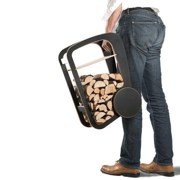 Tragbare und rollbare Holzaufbewahrung