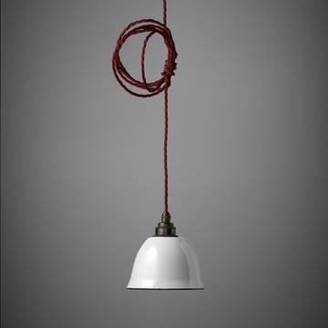 Der Nook London - Miniature Bell Lampenschirm in weiss und Kabel in rot