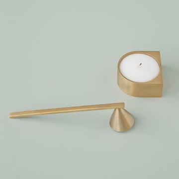 Block Candle Holder und Messing Kerzenlöscher