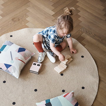 ferm living - jute carpet dots