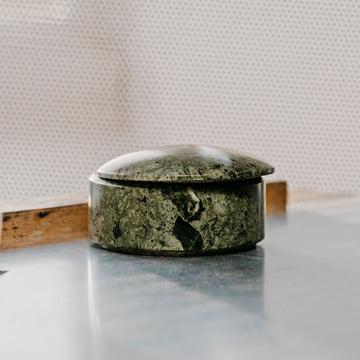 Die Hay - Lens Box mit Deckel, stapelbar in grün, Marmor