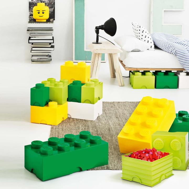 Lego - Storage Box, grün, gelb