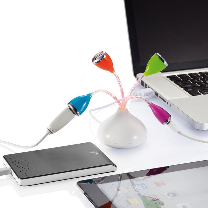 XD Design - Flower USB Hub - angeschlossen, beim Laden