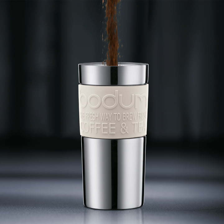 Bodum - Travel Press - Edelstahl, 0.35 L, creme - Zubereitung 1