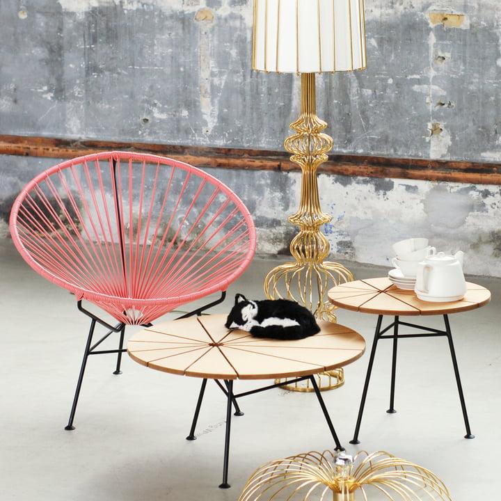 OK Design - The Condesa Chair, pink, Bam Bam table