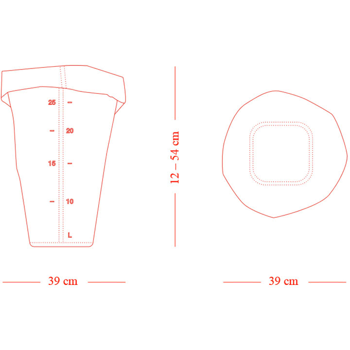 Die Skizze des Roll-Up Papierkorbes in M von Michel Charlot