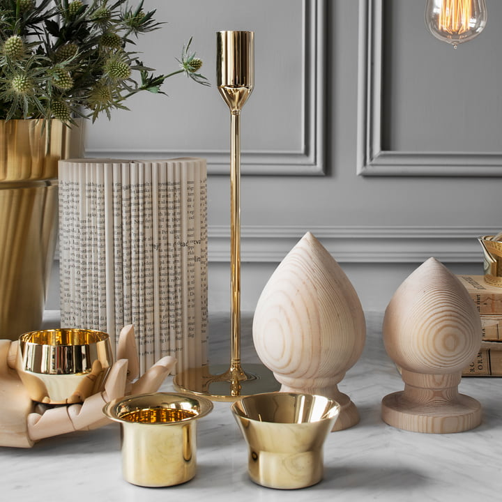 Skultuna -Teelichter-Duo mit Kerzenständer Messing, Ambiente