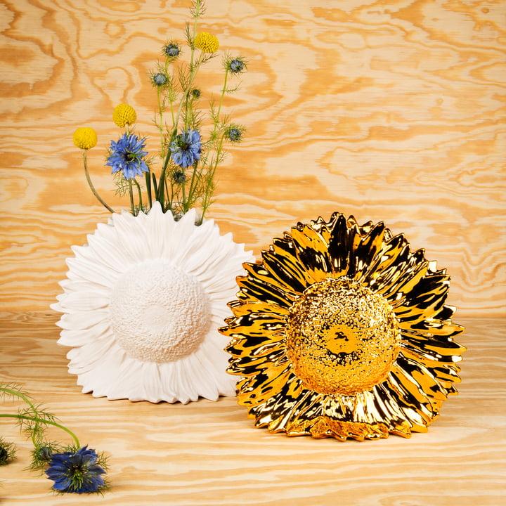 Areaware - Sunflower Vase, weiss, gold