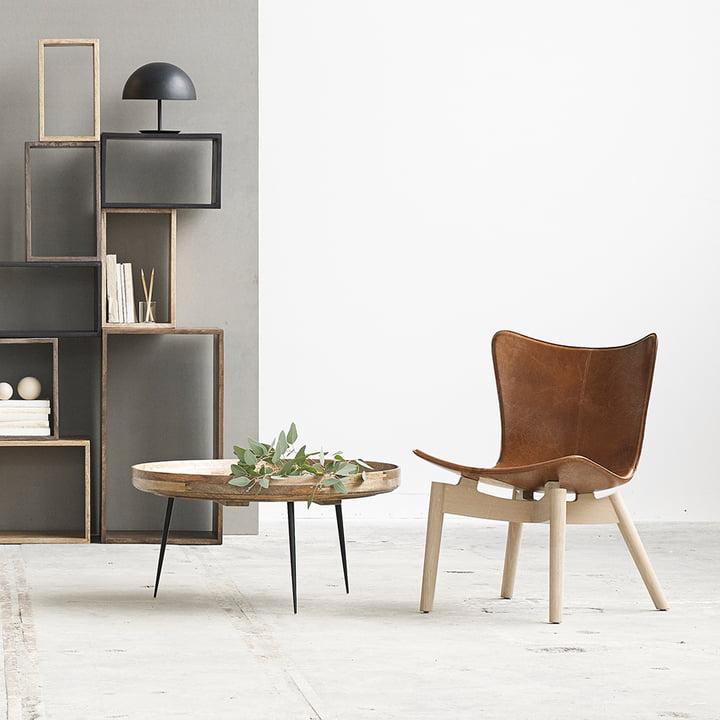 Shell Lounge Chair von Mater aus geseifter Eiche und braunem Sattelleder