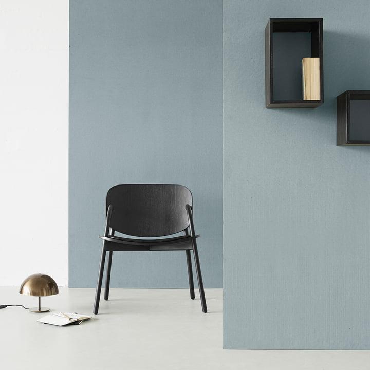Cloudy Chair von Mater aus Eiche mit Dome Tischleuchte in Schwarz