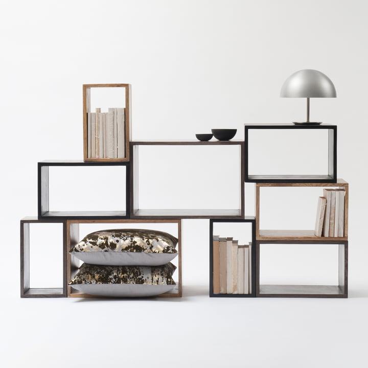 Box System Gruppe von Mater mit Dome Tischleuchte in Schwarz