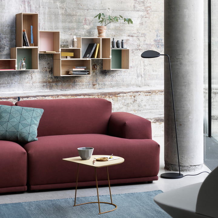 Das Tiles Cushion, die Shades Bowl, die Leaf Leuchte und der Airy Coffee Table von Muuto