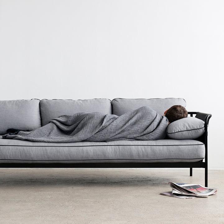 Hay - Can Sofa, 3-Sitzer, schwarz / Canvas schwarz / Canvas grau
