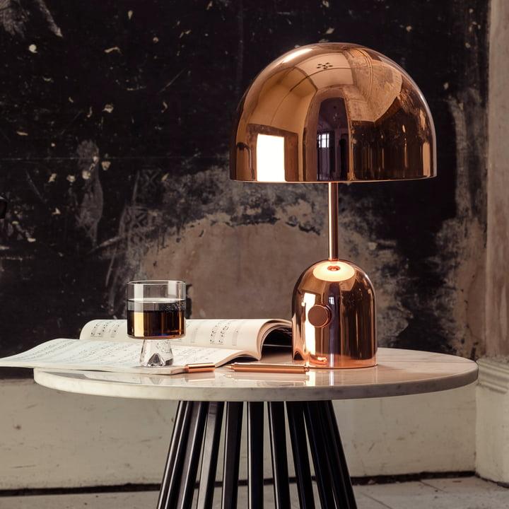 Bell Tischleuchte und Tank Low Ball Glas von Tom Dixon