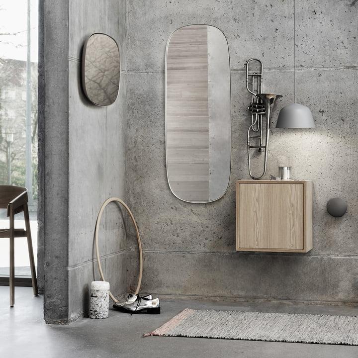 Der Framed Mirror, die Ambit Pendelleuchte und das Stacked Regalmodul