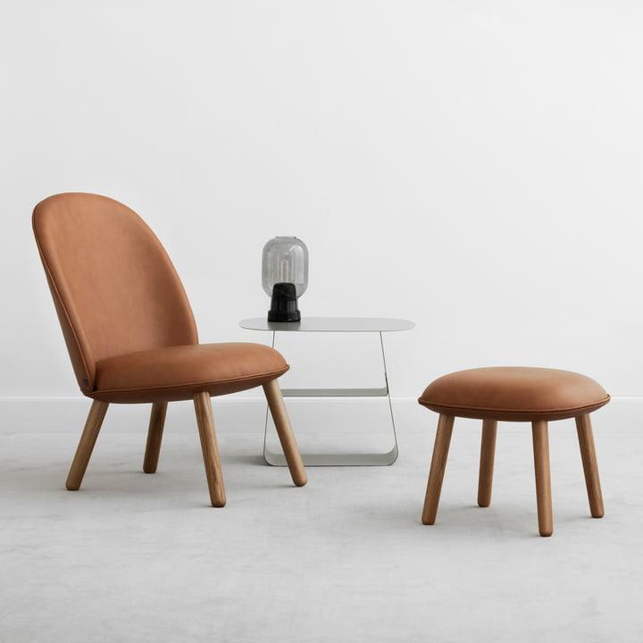 Ace Hocker und Lounge Chair Tango Leather mit Amp Leuchte von Normann Copenhagen