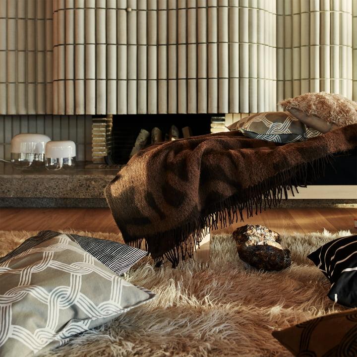Marimekko - Joonas Decke, braun / dunkelbraun - Sulhasmies Kissenbezug, grauweiss / beige