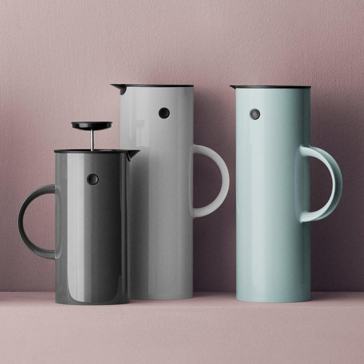 Isolierkanne sowie Kaffee- und Teebereiter in veschiedenen Farben