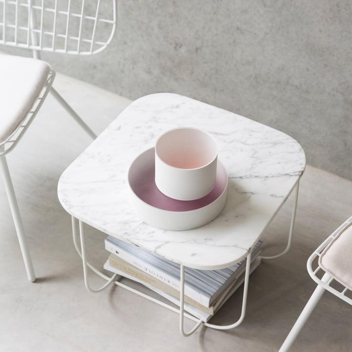 Cage Table von Menu in Marmor / Weiss