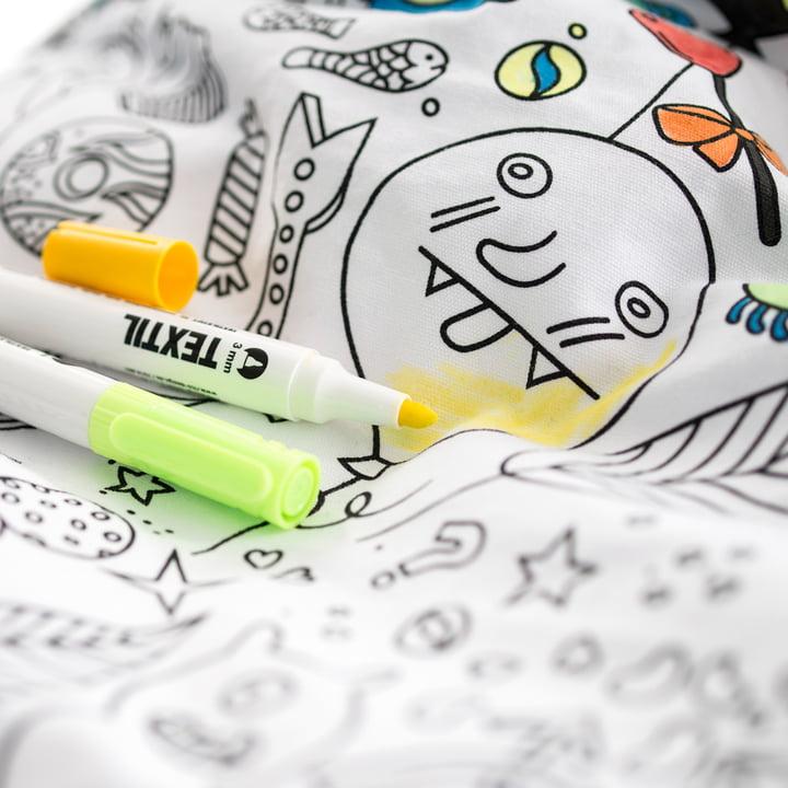 Sitzsack mit Textilstiften selber bemalen