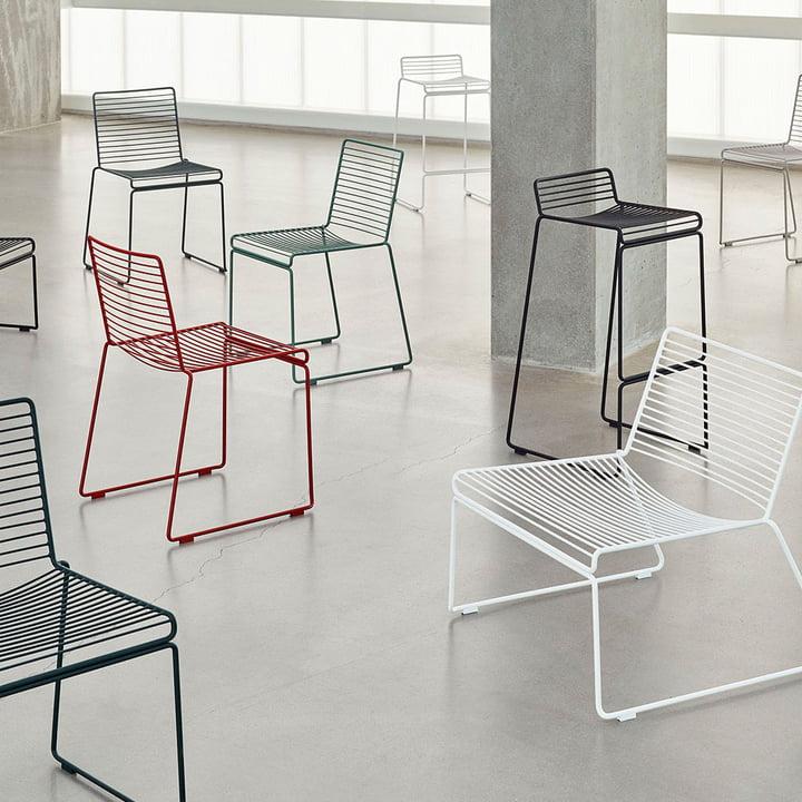 Die Hay - Hee Familie bestehend aus Barhocker, Stühlen und Lounge Chairs