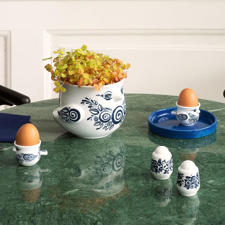 Eierbecher, Salz und Pfefferstreuer und Übertopf von Bjørn Wiinblad