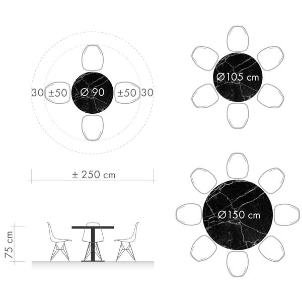 Esstische Grafik 3 - runder Tisch Durchmesser